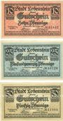 Banknotes Lobenstein, Stadt, série de 3 billets, 10 pf, 25 pf, 50 pf 15.9.1919