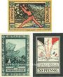 Banknotes Lorch, Stadt, série de 3 billets, 25 pf; 50 pf (2 ex) 15.6.1921