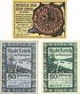 Banknotes Lorch, Stadt, série de 3 billets, 25 pf, 50 pf (2 ex) 15.6.1921