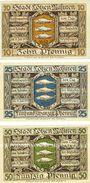 Banknotes Lötzen (Gizycko, Pologne), Stadt, série de 3 billets, 10 pf, 25 pf, 50 pf 1.11.1920