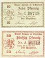Banknotes Löwen, Stadt, billets, 10 pf, 50 pf 21.5.1920