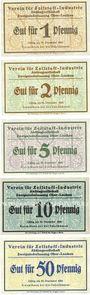Banknotes Ober-Leschen (Leszno Gorne, Pologne), Verein für Zellstoff-Industrie, billets, 1, 2, 5, 10, 50 pf nd