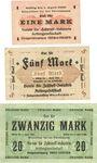 Banknotes Ober-Leschen (Leszno Gorne, Pologne), Verein für Zellstoff-Industrie, billets, 1, 5, 20 mark n.d.