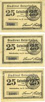 Banknotes Osterhofen. Stadt.  Billets. 25 pfennig (3 ex) 27.1.1917