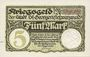 Banknotes St Georgen, Stadt, billet, 5 mark 1.11.1918, sans numérotation, annulation manuscrite Ungiltig