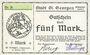 Banknotes St Georgen, Stadt, billet, 5 mark 25.10.1918, sans perforation, sans numérotation