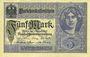 Banknotes Allemagne. Billet. 5 mark 1.8.1917, série V