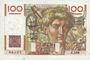 Banknotes Banque de France. Billet. 100 francs jeune paysan, 4.3.1954, filigrane inversé