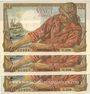 Banknotes Banque de France. Billets. 20 francs pêcheur numéros consécutifs, 10.2.1944. 3 exemplaires