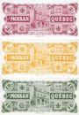 Banknotes Canada. J. A. Moisan. Série de 3 billets. 3, 5, 10 sous 1984