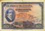 Banknotes Espagne. Banque d'Espagne. Billet. 50 pesetas 17.5.1927