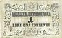 Banknotes Italie. République de Venise. Billet. 1 lire 1848