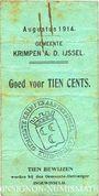 Banknotes Pays Bas. Commune (Gemeente) Krimpen aan de Ijssel. 10cents. 8.1914