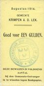 Banknotes Pays Bas. Commune (Gemeente) Krimpen aan de Lek.  1 gulden. 8.1914