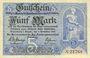 Billets Annaberg. Amtschauptmannschaft. Billet. 5 mark 1.11.1918, timbre sec, cachet d'annulation