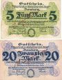Billets Bautzen. Amtshauptmannschaft. Billets. 5 mark, 20 mark 19.11.1918, cachet d'annulation