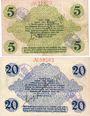 Billets Bautzen. Amtshauptmannschaft. Billets. 5 mark, 20 mark 19.11.1918, cachet d'annulation