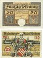 Billets Beckum. Stadt. Billets. 50 pf 1.11.1918 ; 25 pf 1.11.1920
