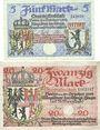 Billets Berlin. Stadt. Billets. 5 mark, 20 mark 24.10.1918