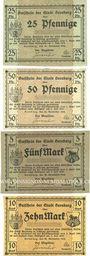 Billets Bernburg. Stadt. Série de 4 billets. 25, 50 pf, 5, 10 mark 20.11.1918