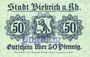 Billets Biebrich am Rhein. Stadt. Billet. 50 pfennig 1918, cachet Ungultig