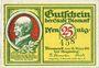 Billets Bismark. Stadt. Billet. 25 pf 18.3.1921, numérotation à 3 chiffres