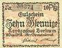 Billets Borkum. Gemeinde. Billet. 10 pfennig 10.6.1918