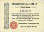Billets Bremerhaven. Bremer Bank-Verein. Billet. 5 mark 1.11.1918, annulation par perforation