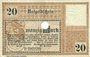 Billets Bremerhaven. Geestemünde und Lehe. Städte. Billet. 20 mk 15.11.1918, annulation par perfo
