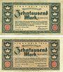 Billets Cologne. Stadt. Billets. 10000 mark (2ex) 1.2.1923, série (Reihe) A, L