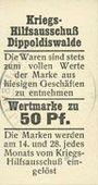Billets Dippoldiswalde. Kriegs-Hilfsausschuß. Billet. 50 pf (26.10.1916)