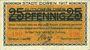 Billets Düren. Stadt. Billet. 5 mark imprimé sur 25 pf du 1.6.1917