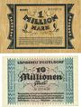 Billets Düsseldorf. Landkreis. Billets. 1 million mk 7.8.1923, 10 millions mk 29.8.1923