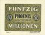 Billets Düsseldorf. Phoenix. Billet. 50 millions de mark du 15.9.1923, série (Reihe) 4