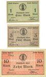 Billets Emden. Stadt. Billets. 1 mark, 5 mark, 10 mark n. d. - 1.2.1919