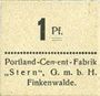 Billets Finkenwalde (Zdroje, Pologne). Portland Cement-Fabrik G.m.b.H. Billet. 1 pf (1919)