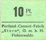Billets Finkenwalde (Zdroje, Pologne). Portland Cement-Fabrik G.m.b.H. Billet. 10 pf (1919), vert clair