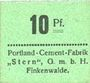 Billets Finkenwalde (Zdroje, Pologne). Portland Cement-Fabrik G.m.b.H. Billet. 10 pf (1919), vert foncé