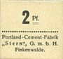 Billets Finkenwalde (Zdroje, Pologne). Portland Cement-Fabrik G.m.b.H. Billet. 2 pf (1919)