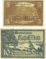 Billets Furtwangen. Stadt. Billets. 5 mk, 10 mk nd - 1.12.1918, originaux, annulation par cachet ENTWERTET