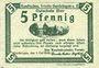 Billets Gardelegen. Kaufmännischer Verein. Billet. 5 pf 1.5.1920, 2e émission