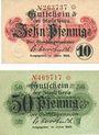 Billets Gera. Stadt. Billets. 10 pf, 50 pf 1920
