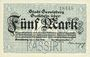 Billets Gevelsberg. Stadt. Billet. 5 mark 5.11.1918, annulation par perforation KASSIRT
