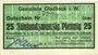 Billets Gladbeck. Gemeinde. B25 pf 22.4.1917, vert clair,annulation par cachet Entwertet au dos