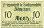 Billets Göppingen. Stadt. Billet. 10 mark nov. 1918, annulation par perforation UNGULTIG