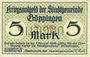 Billets Göppingen. Stadt. Billet. 5 mark nov. 1918, annulation par perforation UNGULTIG