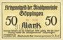 Billets Göppingen. Stadt. Billet. 50 mark nov. 1918, annulation par perforation UNGULTIG