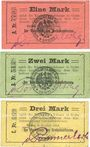 Billets Grätz (Grodzisk Wielkopolski, Pologne). Kreisausschuss. Billets. 1, 2, 3 mark 8.8.1914