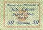 Billets Hassloch. Löwer Joh.. Brauerei und Weinkellerei. Billet. 50 pf, signature manuscrite au revers