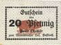 Billets Hassloch. Stamer Peter, zum Wittelsbacher Hof. Billet. 20 pf, signature manuscrite au do